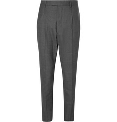 Officine Generale Grey Marcel Tapered Pleated Wool Suit Trousers