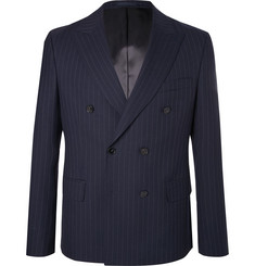Officine Generale - Navy Double-Breasted Pinstriped Wool Blazer