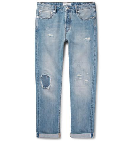 Slim-fit Distressed Selvedge Denim Jeans Officine Generale qBGrOTpOeZ