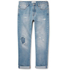 Officine Generale Slim-Fit Distressed Selvedge Denim Jeans