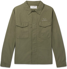 Officine Generale Embroidered Slub Cotton Overshirt