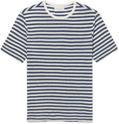 Officine Generale Striped Slub Cotton and Linen-Blend T-Shirt