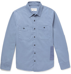 Officine Generale Slim-Fit Patchwork Cotton-Twill Shirt