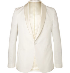 Officine Generale Ecru Slim-Fit Satin-Trimmed Cotton and Linen-Blend Tuxedo Jacket