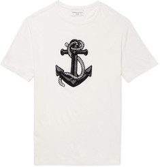 Officine Generale - Flocked Cotton and Linen-Blend T-Shirt