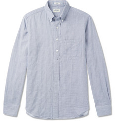 Hartford Sander Button-Down Collar Striped Cotton Half-Placket Shirt