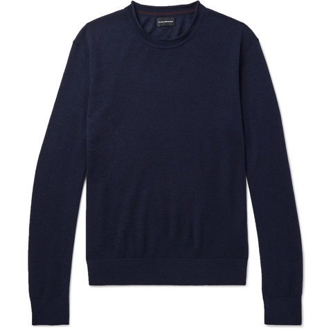 Club Monaco Slim-fit Merino Wool, Silk And Cashmere-blend Sweater - Navy