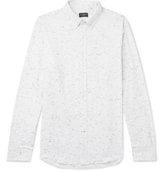 Club Monaco - Slim-Fit Button-Down Collar Slub Cotton-Blend Flannel Shirt
