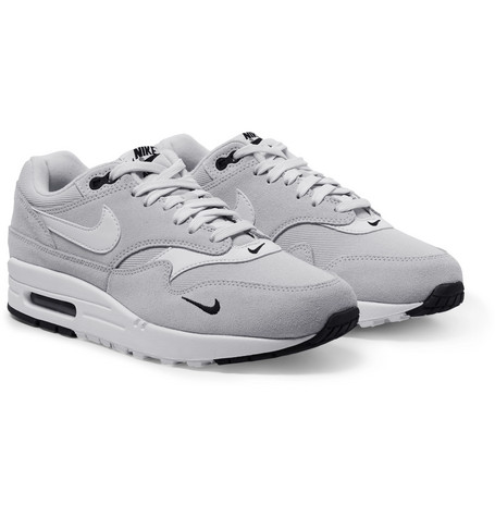 Air Max 1 Premium Leather Trimmed Suede And Mesh Sneakers by Nike