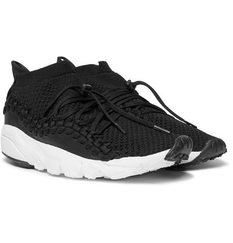 Air Footscape Woven Chukka Leather And Flyknit Sneakers by Nike