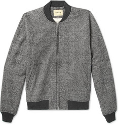 De Bonne Facture - Prince of Wales Checked Brushed Cotton and Wool-Blend Bomber Jacket