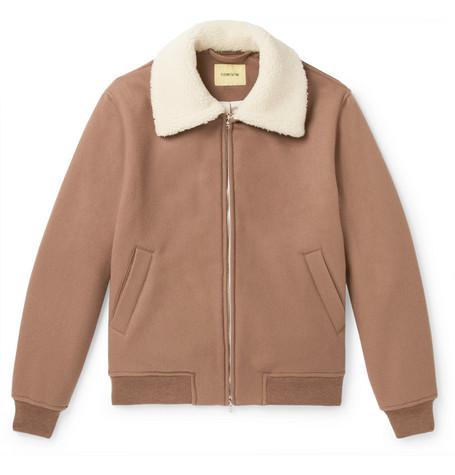 Shearling Trimmed Brushed Wool Bomber Jacket by De Bonne Facture