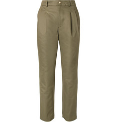 De Bonne Facture Pleated Cotton-Drill Chinos