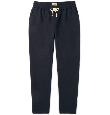 DE BONNE FACTURE TAPERED PINSTRIPED COTTON AND WOOL-BLEND DRAWSTRING TROUSERS
