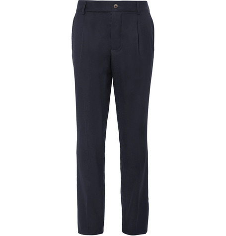 DE BONNE FACTURE Pleated Brushed Wool-Twill Trousers