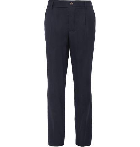 Pleated Brushed Wool-twill Trousers De Bonne Facture jE84Z