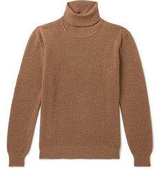 De Bonne Facture Waffle-Knit Merino Wool Rollneck Sweater