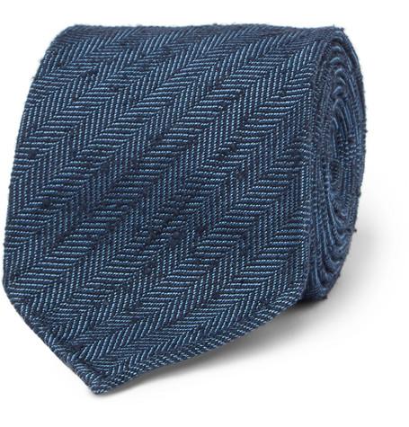 8cm Herringbone Slub Silk Tie Drake's fgzKId1Wm