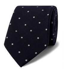 Drake's 8cm Polka Dot Wool and Silk-Blend Tie