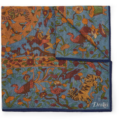 Drake's - Printed Wool and Silk-Blend Pocket Square