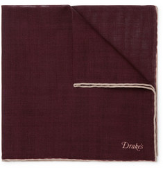 Drake's - Wool and Silk-Blend Pocket Square