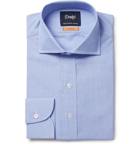 8c88057ff02 Drake s Blue Easyday Cutaway-Collar End-On-End Cotton Shirt - Blue ...