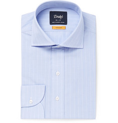 Drake's Light-Blue Cutaway-Collar Striped Cotton Shirt