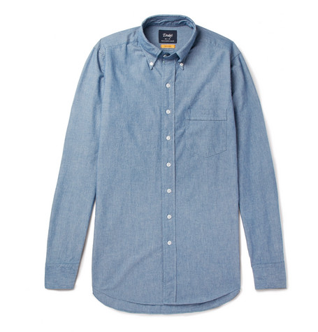 Easyday Slim Fit Button Down Collar Cotton Chambray Shirt by Drake's