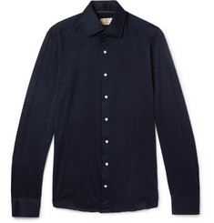 Hackett Slim-Fit Cutaway-Collar Cotton-Jersey Shirt