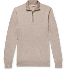 Hackett Slim-Fit Merino Wool, Silk and Cashmere-Blend Half-Zip Sweater