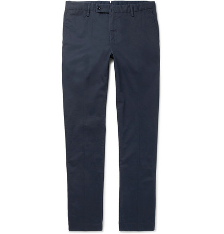 Kensington Slim Fit Brushed Stretch Cotton Twill Chinos by Hackett