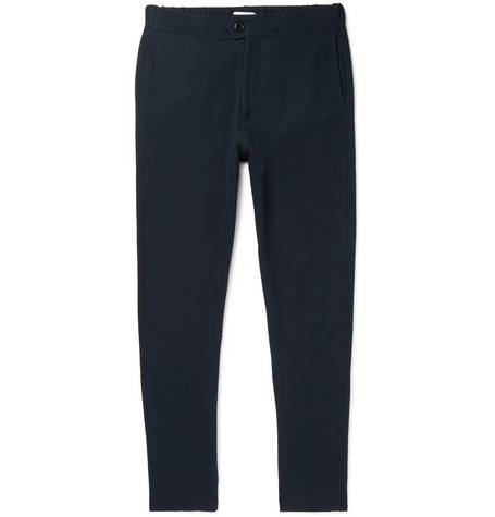 HAMILTON AND HARE TAPERED TEXTURED COTTON-BLEND TROUSERS