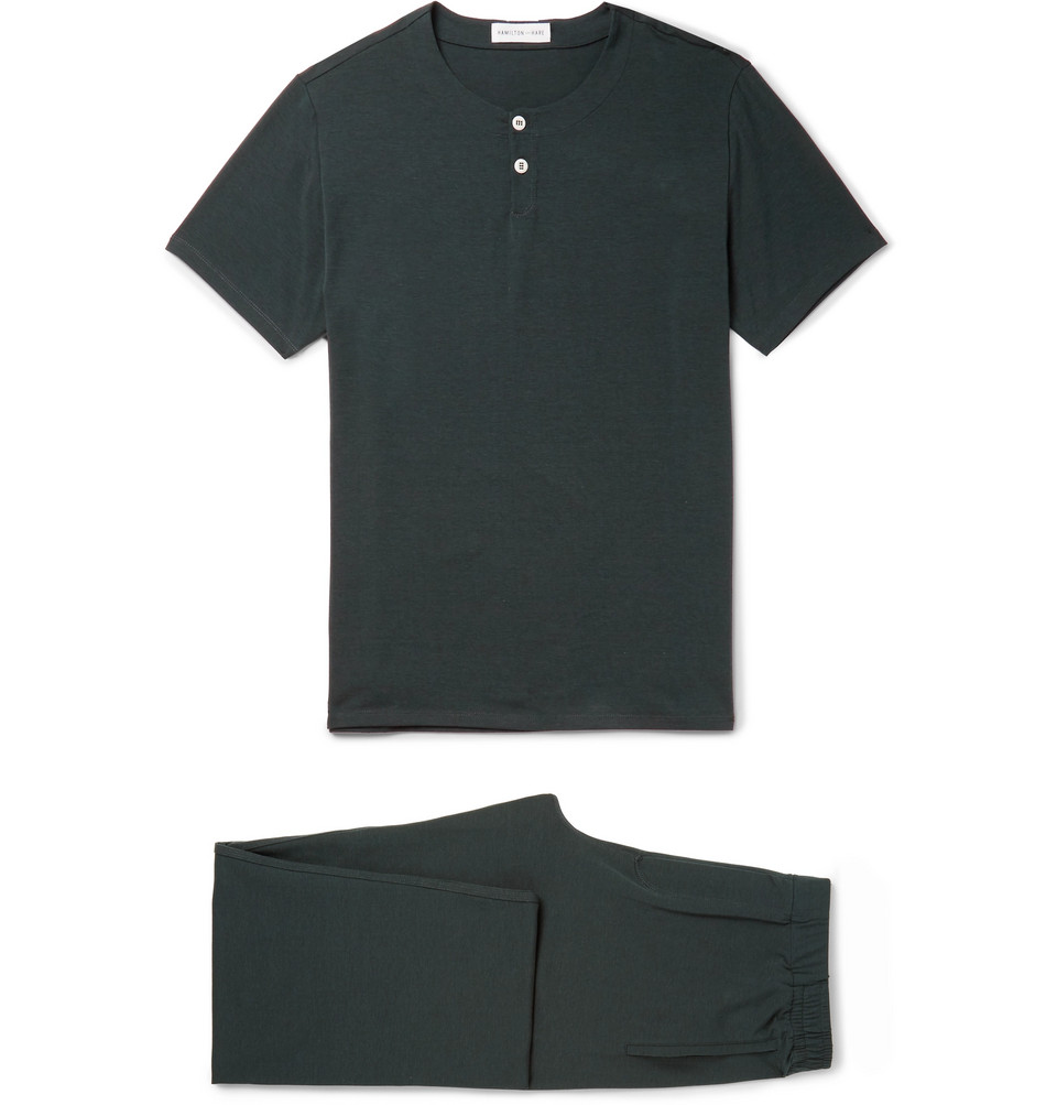 Stretch Lyocell And Cotton-blend Pyjama Set - Forest green