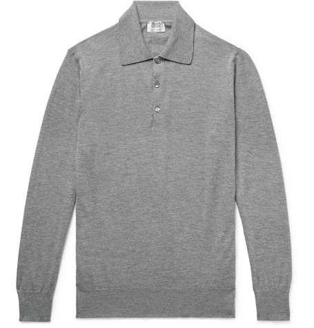 WILLIAM LOCKIE Slim-Fit Mélange Cashmere Polo Shirt