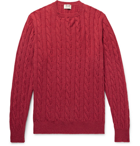 WILLIAM LOCKIE Orwell Slim-Fit Cable-Knit Cashmere Sweater in Red