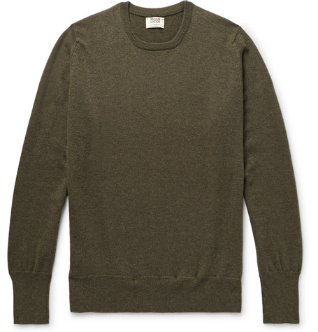 WILLIAM LOCKIE Slim-Fit Cashmere Sweater in Army Green