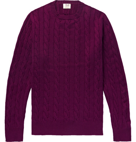 WILLIAM LOCKIE Orwell Slim-Fit Cable-Knit Cashmere Sweater in Purple