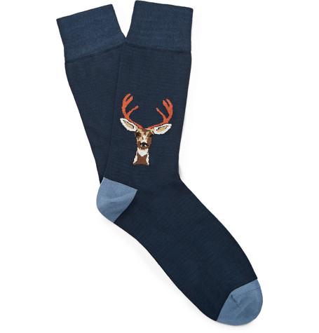 CORGI Intarsia Cotton-Blend Socks in Navy