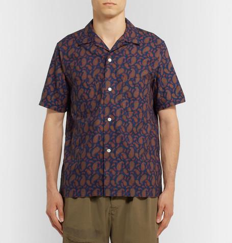 Camp Collar Paisley Print Cotton Shirt by Beams Plus