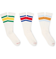 Beams Plus - Three-Pack Striped Ribbed-Knit Socks