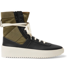 Fear of God Jungle Leather and Canvas High-Top Sneakers
