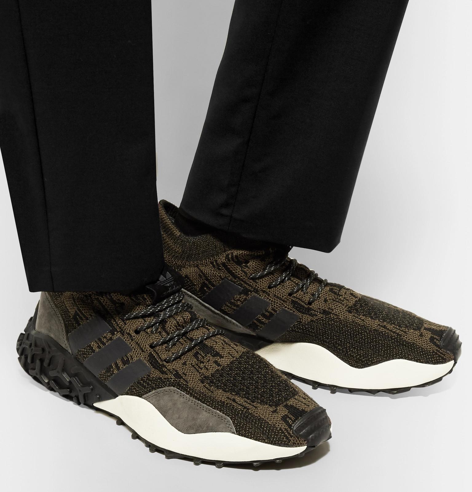 official photos 3cdc5 e4863 adidas OriginalsAtric F2 TR Suede-Trimmed Primeknit Sneakers