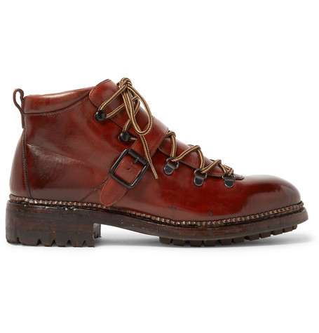 O'KEEFFE Alvis Polished-Leather Boots in Tan