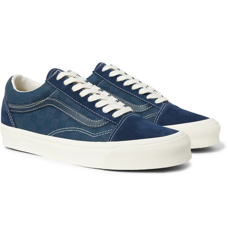 a7eec1793e Vans Og Old Skool Lx Leather-Trimmed Suede And Checkerboard Canvas Sneakers  In Navy