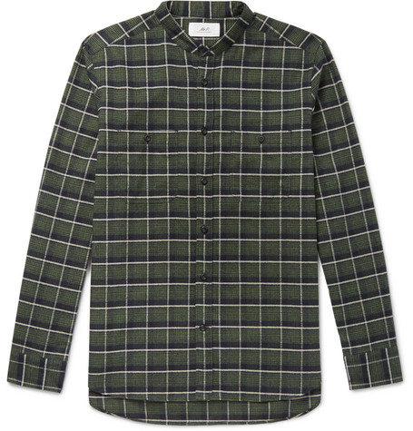Grandad Collar Checked Cotton Flannel Shirt by Mr P.