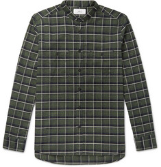 Mr P. Grandad-Collar Checked Cotton-Flannel Shirt