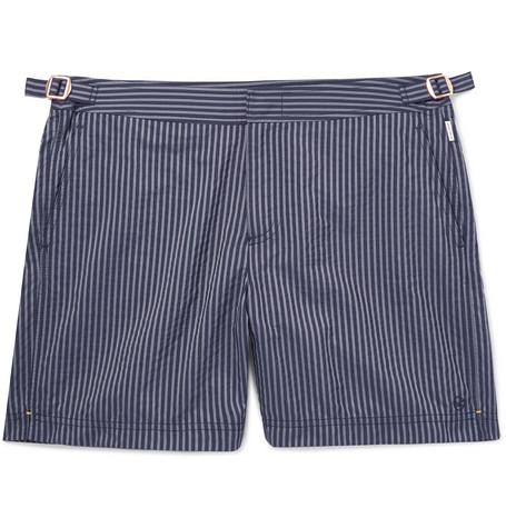 KINGSMAN + Orlebar Brown Bulldog Slim-Fit Mid-Length Striped Seersucker Swim Shorts