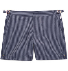 Kingsman + Orlebar Brown Bulldog Slim-Fit Mid-Length Striped Seersucker Swim Shorts