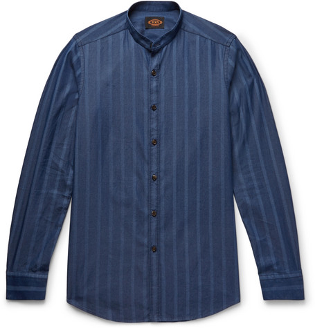 Tod's - Grandad-Collar Striped Cotton-Chambray Shirt - Storm blue