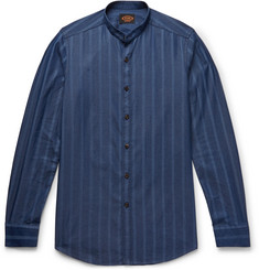 Tod's Grandad-Collar Striped Cotton-Chambray Shirt